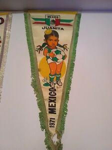"Vintage Mega Rare pennant world cup women Mexico 1971 16"""