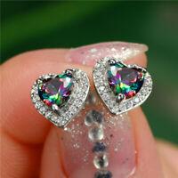 7 Colors Heart Stud Earrings Women 925 Silver Jewelry Cubic Zircon A Pair/set