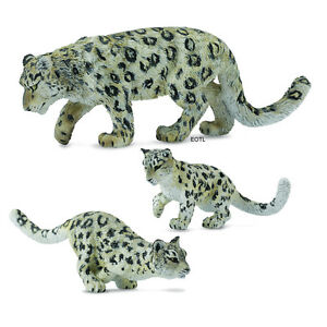 NEW CollectA 88496 88497 88498 Snow Leopard Adult Cub Cubs Group - Set of 3