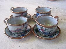 1970s Beautiful Dark Gray Set of 4 Teacups/Saucers, Maroon Birds - Tonala Mexico
