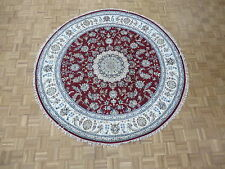 7'9 X 7'9 Round Hand Knotted Red Persian Fine Nain With Silk Oriental Rug G4396