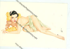 """VARGA SEXY BRUNETTE LYING ON HER SIDE TOPLESS-FLOWERS- RISQUE-4""""X6""""(#3*)"""