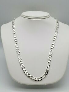 """NEW SOLID ITALIAN 925 STERLING SILVER 24"""" FIGARO 8 MM CHAIN NECKLACE 49.1 GRAMS!"""