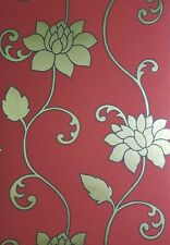 Wallpaper Red With Gold Floral Design Feature Wall 1309230
