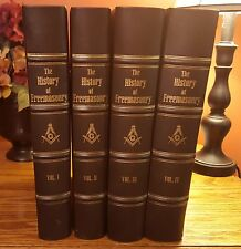 ANTIQUE 1898 LEATHER FREEMASONRY RITUALS ILLUSTRATED GOLD LEAF BOOK SET 4 VOL
