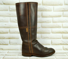 VALVERDE DEL CAMINO Brown Leather Womens High Long Knee Boots Size 3 UK 36 EU