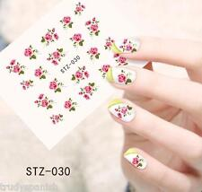 Nail Art Water Decals Wraps Pink Green Summer Flowers Roses Gel Polish (030)