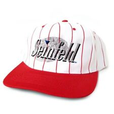 Vintage Seinfeld Logo Snapback Hat Cap Red Pinstriped Jerry Seinfeld Comedy