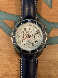 Men's Nautica Watch Navy Blue Leather White Face
