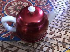 WHITE CHINA TEA POT WITH VINTAGE RED ALUMINUM COSY/WARMER - MADE IN JAPAN