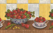 Tuscany Kitchen Strawberry China Bowl Cup Shelf Yellow Check Wall paper Border