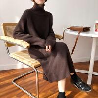 Damenmode Strickkleider Kaschmir Lang Rollkragen Sweater Kleider Pullover Winter