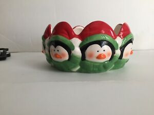 "Royal Norfolk  Ceramic Candy Dish Christmas Red Green Black Penguins 5"" D x 3""T"