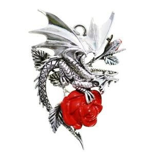 ANNE STOKES  PENDANT - CARPE NOCTUM - DRACA ROSA CHARISMA & COURAGE Dragon Rose