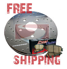 Town Car 95 (F&R) Drill Slot Brake Rotors + POSI QUIET Ceramic Pads