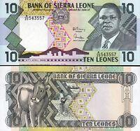 Sierra Leone 10 Leones, 1988, UNC, P-15, Prefix A
