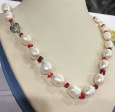 "Natural 20"" Real 10-11mm freshwater cultured rice pearl & red coral necklace"