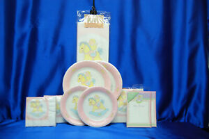 Rocking Horse Party Set # 10 Baby Shower Party Plates Napkins Cups VINTAGE