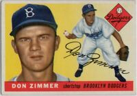 1955 Topps #92 Don Zimmer VG-VGEX+ Wrinkle Rookie Brooklyn Dodgers FREE SHIPPING
