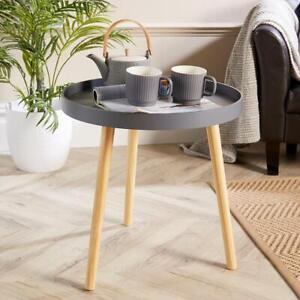 Grey Round Coffee Accent Side Table Modern Living Room Furniture Lipped Edge