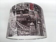 LAMPSHADE made from..MURIVA LONDON CITY Wallpaper ..(Black/Red/White) Handmade.