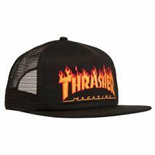 Thrasher Magazine Embroidered Flame Logo Skateboard Hat Mesh Snapback Cap Black