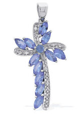 Tanzanite Holy Cross 1.50 Ct. Pendant White Topaz in 925 Silver Women Jewelry