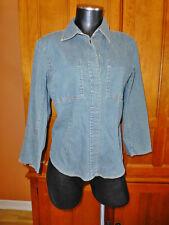 Vtg 90s DKNY Blue Denim Stretch Cotton Jean Pockets TOP Blouse Shirt