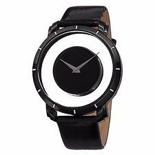 Men's Akribos XXIV AK412BK Quartz Black Exhibition Dial Leather Strap Watch