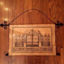 ❤️ Gold Black Iron Gate Design Wall Hanging Canvas Tapestry Decor