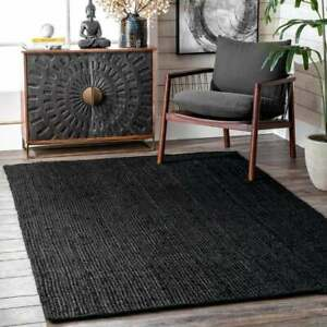 3x5 feet square black hand braided rectangle jute rugs beautiful rug area rugs