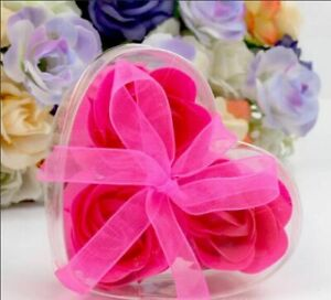 Romantic Fancy Flavored Flower Soaps With Heart Shaped Box Wedding Souvenirs New