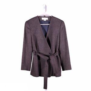 Jones New York Women's Blazer Beige Wool Double Breasted Petite Suit Jacket 8P
