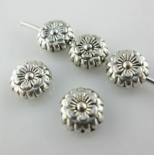 30pcs Tibetan Silver Oblate Flat Flower Spacer Beads Jewelry Findings 7.5x3mm