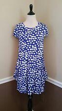 NWT Modcloth Dress M Kensie Indigo Blue w White Dots Draped Pockets Comfy Cloud