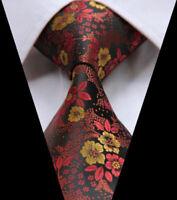 Mens Brown Yellow Floral Paisley Tie  Wedding Paisley Silk Necktie
