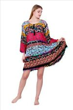 Hippie Blogger Hängerchen Leichte Kleid Long Tunika Print BOHO 38 40 42  K185