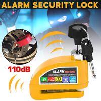 Yellow Motorcycle Bicycle ATV Security Wheel Disc Brake Lock Alarm 110dB