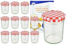 12 Sturzgläser 230ml hoch rot kariert Einmachglas Marmeladengläser Einweck Glas