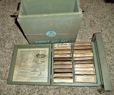 WW2 Civil Defense Big First Aid MED MEDICAL Kit FULL Apothecary Medical Box WOW