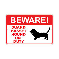 Pet Supplies Signs Plaques On Duty Laminated Dog Sign Beware Guard Basset Hound Silhouette Institut Pyrene Fr