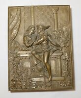 antique Romeo and Juliet ornate figural thick brass relief wall plaque trivet