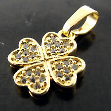 PENDANT REAL 18K YELLOW G/F GOLD DIAMOND SIMULATED  FOUR LEAF GLOVER DESIGN