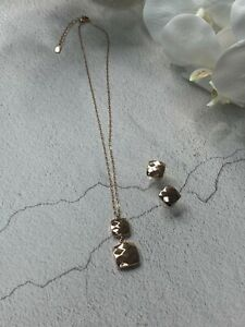 316 Stainless Steel Diamond Cut double Drop Square Necklace & Earrings/sets/Gold