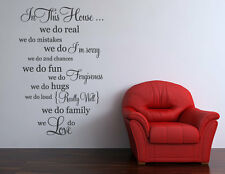 In This House Wall Sticker Decal Quote Family Words Home Decor Art Love Graphic
