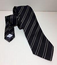 ETON Black Striped Slim 100% Silk Shirt Neck Tie RRP: £80.00