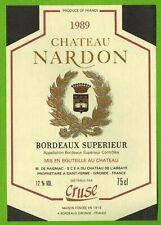 Etiquette vin de Bordeaux-Château Nardon(1989)-Cruse-Réf.n°451