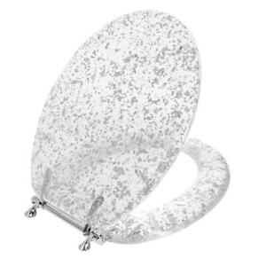 Ginsey Elongated Resin Decorative Toilet Seat with Chrome Hinges, Silver Foil