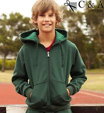 Kids Boys Girls Zip Through Anti Pill Fleece Fabric Hoodie Sports Casual Wear