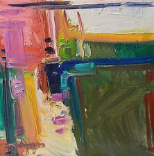 JOSE TRUJILLO ORIGINAL Oil Painting ABSTRACT Expressionist Pink Green Decor COA
